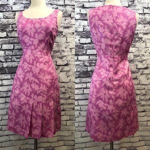 Ann Taylor Pink Floral Silk Retro Vintage Dress